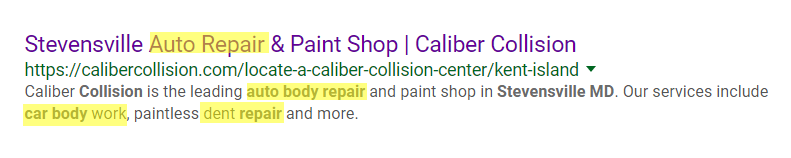 Auto Repair Organic Search Results