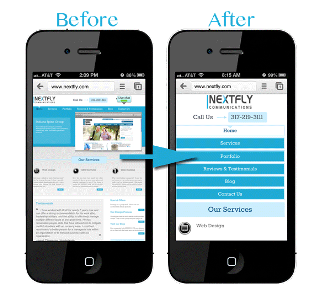 Mobile Friendly Website Before and After