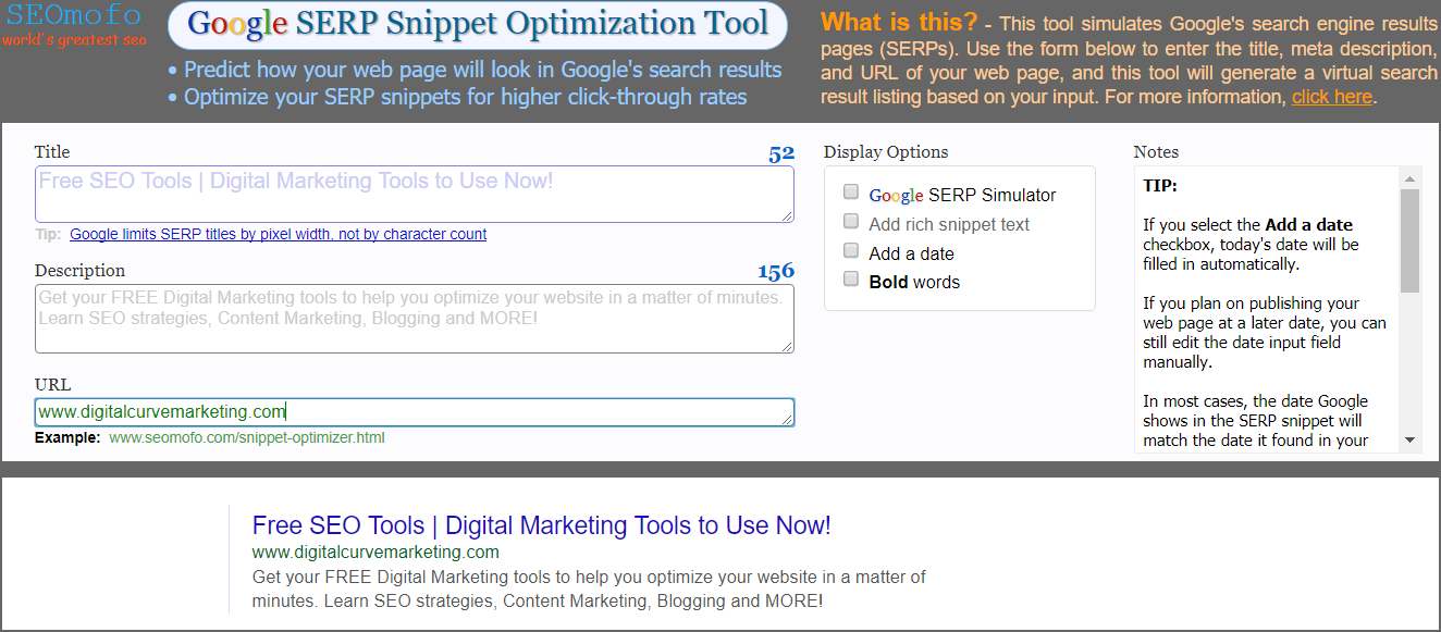FREE SEO Tool to create Search Engine Results Page Snippets