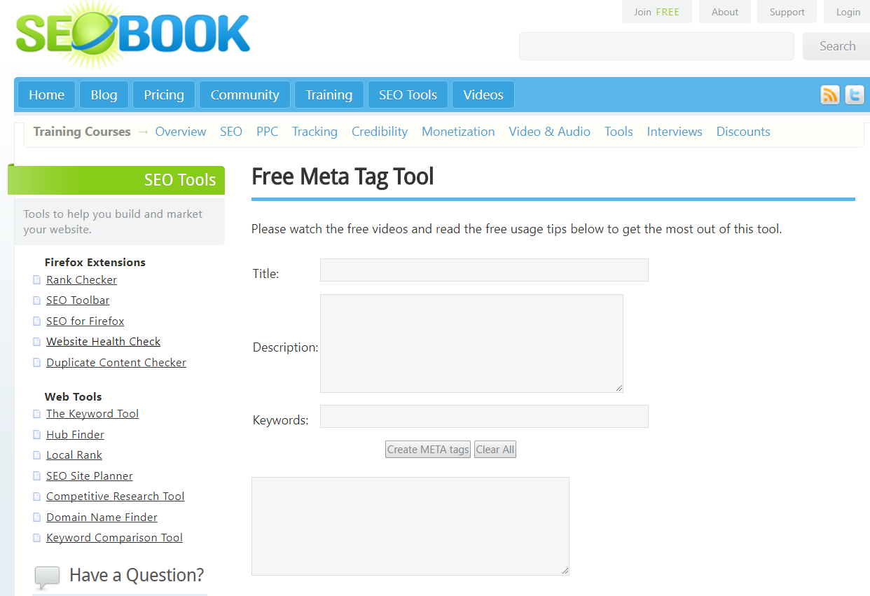 FREE SEO Meta Tag Tool to use when creating Meta Tags
